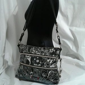 Sakroots Black & Silver Coated Crossbody Bag